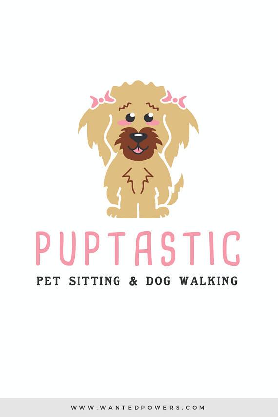 Cute Scruffy Puppy Dog With Bows Logo Custom Pre Made Logo Design