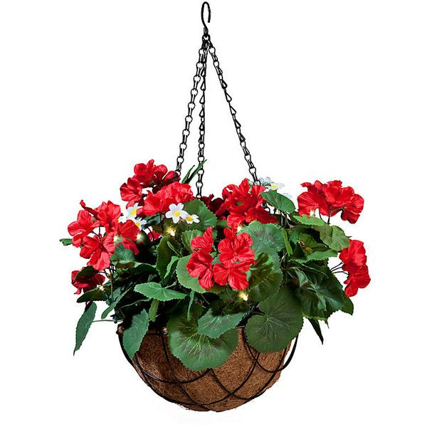 """Pre-Lit Summer Hanging Basket-24"""" ($60) ❤ liked on Polyvore featuring home, home decor, floral decor, flower home decor, welcome basket, floral home decor and outdoor home decor"""