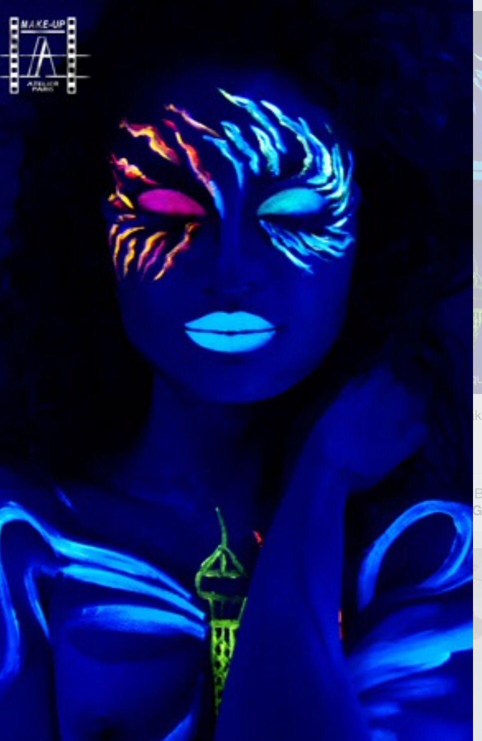 Glow in the dark makeup | Neon face paint, Uv makeup, Dark ...