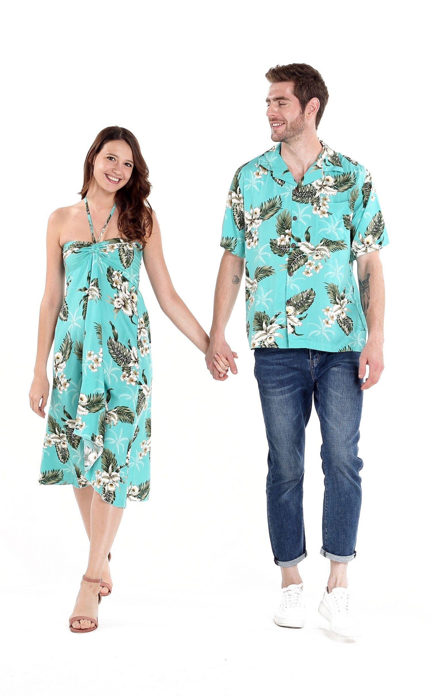 7be8d3ed Couple Matching Hawaiian Luau Cruise Party Outfit Shirt Dress in Palm Green  Turquiose