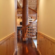 Hallway With Spiral Staircase Prefinished 5 Inch Tongue Amp Goove Knotty Pine Paneling With 4 Inch Knotty Pine Walls Knotty Pine Paneling Wood Wainscoting
