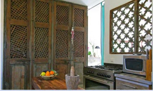 Beautiful Indian Lattice Work Window In A Country Style Kitchen
