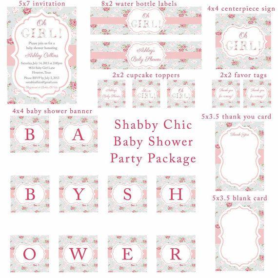 PRINTABLE Oh niña Shabby Chic Cottage Vintage rosas rosado y azul bebé ducha fiesta paquete conjunto