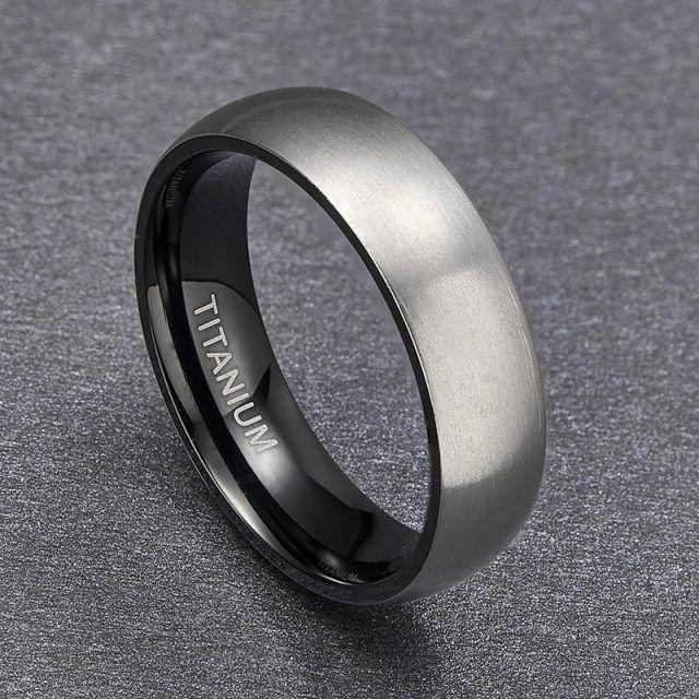 Matte Black Inner Titanium Mens Rings 6mm Size 5 10 Titanium Rings For Men Mens Wedding Rings Titanium Wedding Band Mens