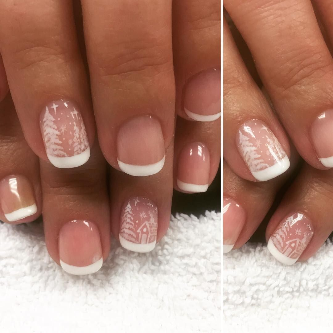 French tip holiday or winter nail design by @lop10zing | Nail Art ...
