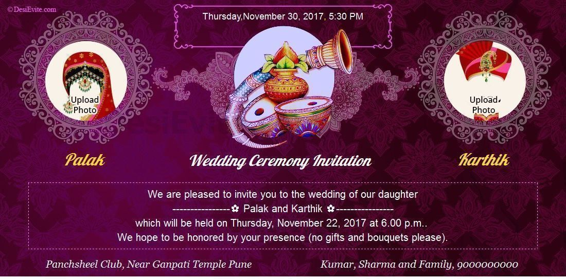 Online Indian Invitation Ecard Maker Traditional Wedding With Kalash Groom Bride Photo