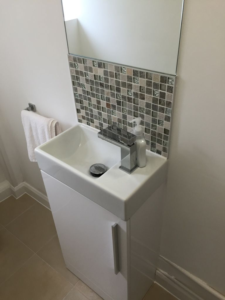 Image Result For Bathroom Splashback Tiles Small Downstairs Toilet Small Bathroom Makeover Cloakroom Basin Vanity Units