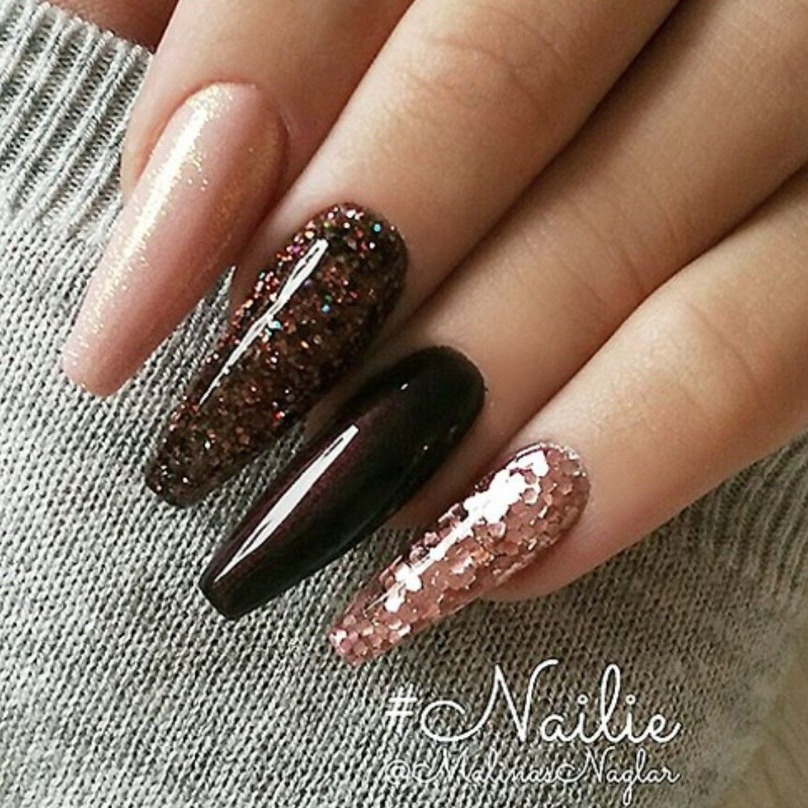 Fall Nails. Brown Glitter Nails. Ballerina Nails. Acrylic Nails. #fallnails