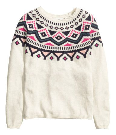 18200f304 Jacquard-knit sweater in a soft cotton blend with alpaca wool ...