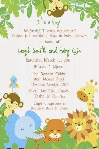 baby shower invitations | printable safari baby shower invitations, Baby shower invitations