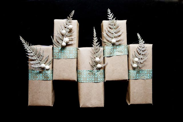 wonderful gift wrapping, glitter and blue!