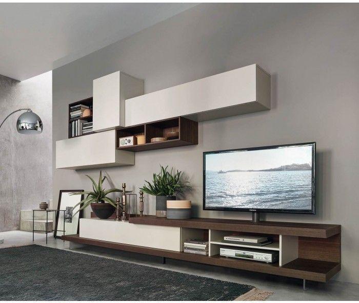 Livitalia Wohnwand C52 Living rooms and Room - hängeschrank wohnzimmer weiß
