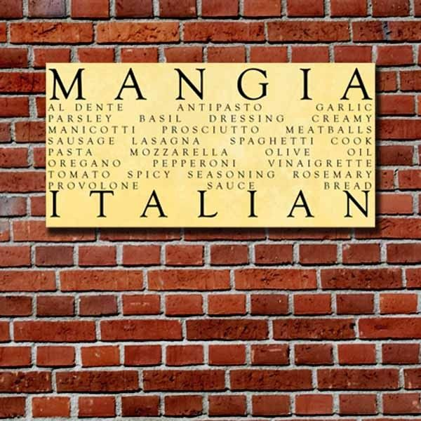 Mangia Italian Kitchen Word Art 10x20 inch STOCK Typography Canvas ...