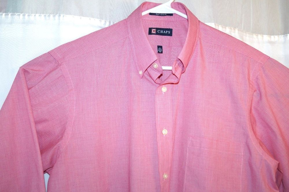 Chaps Mens Classic Fit Long Sleeve Pink Button Front Dress Shirt Size 16 34 35 Fashion Clothing Shoes Accessories Mensclothing Mens Shirts Shirts Clothes