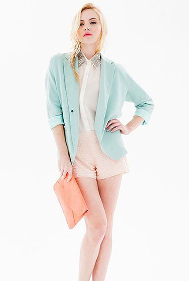 Blazer in Mint Blue  mint  and peach  cute outfit