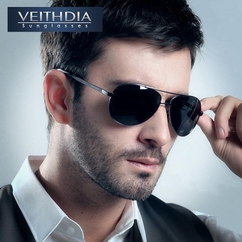Men/'s Sunglasses VEITHDIA Brand Designer Pilot UV Polarized Classic Sunglasses