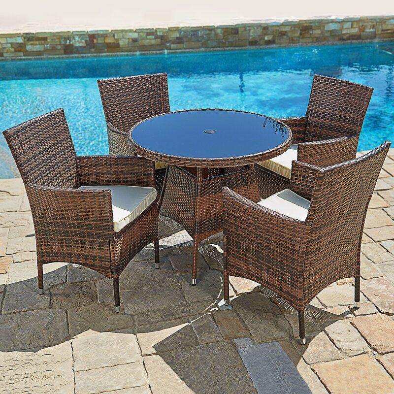 Behrens Outdoor 5 Piece Dining Set With Cushions In 2020 Beautiful Outdoor Furniture Outdoor Dining Set Patio Furniture