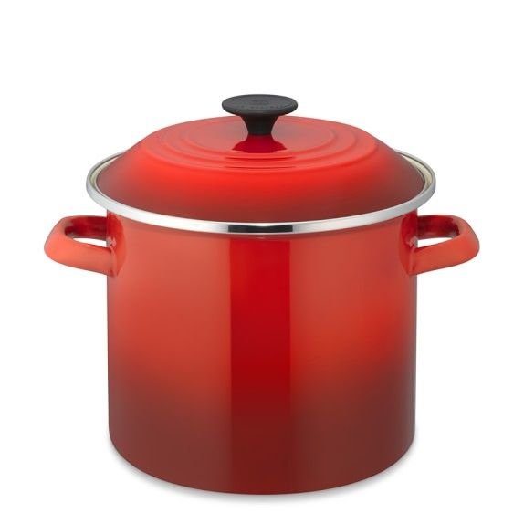 Le Creuset Enameled Steel Stock Pot 8 Qt Red Steel Stock Le