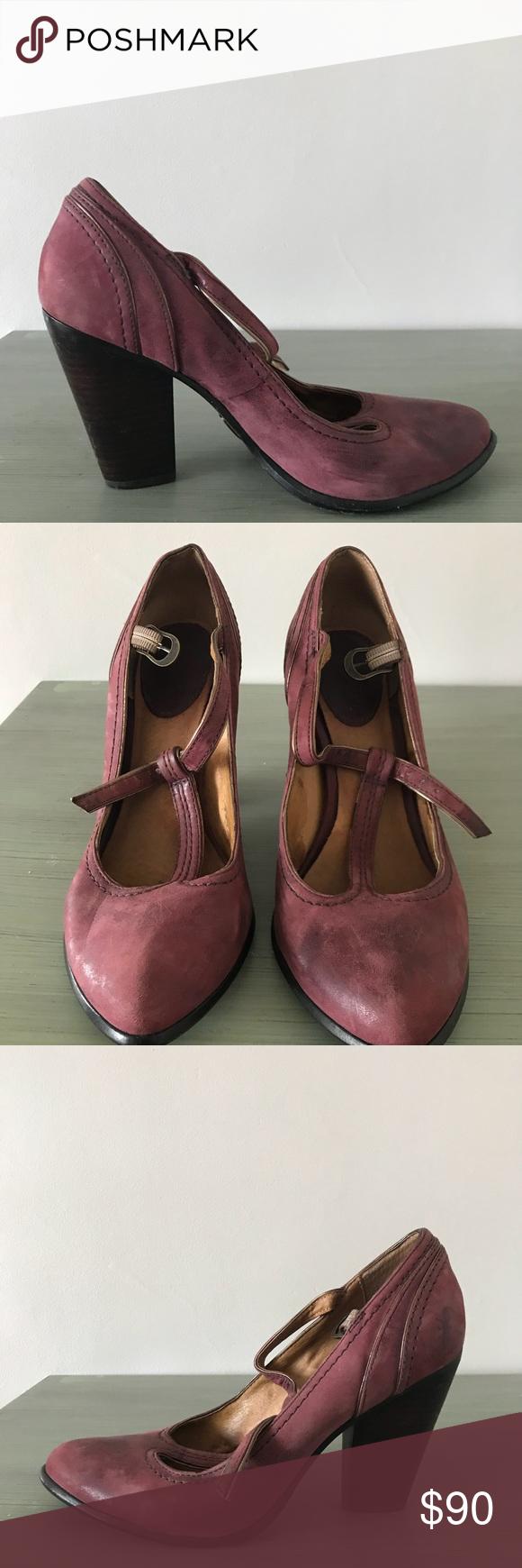 1624850ce09a Frye Betty T-strap Heels Frye Betty T-strap Heels in a burgundy