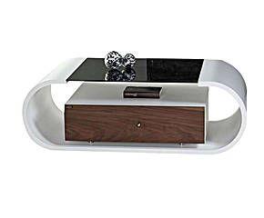 Tavolino in legno con cassetto inferiore Casus bianco/noce - 120x36x63 cm