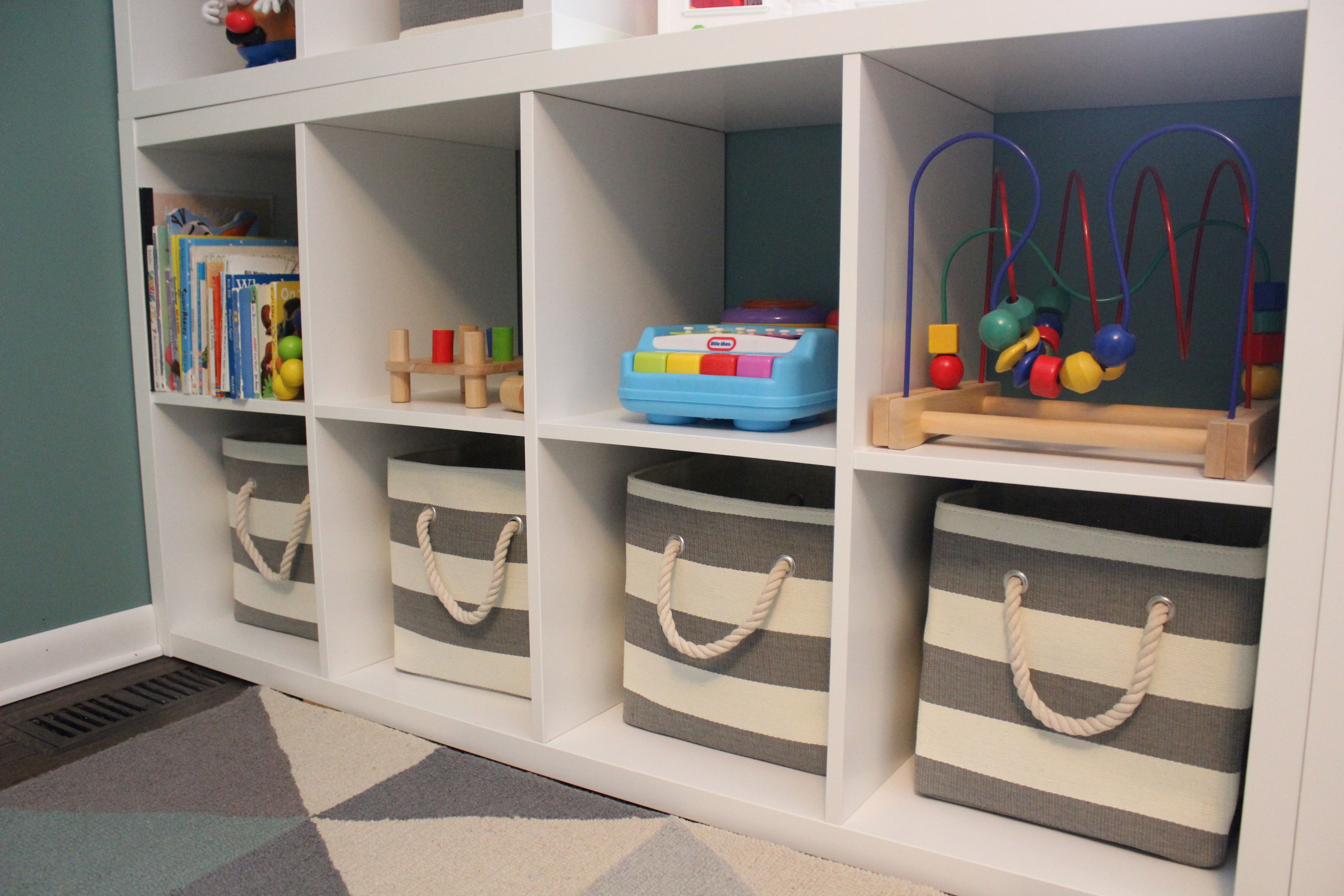 Playroom Storage Ikea Kallax Land Of Nod Striped Bins Cubbies