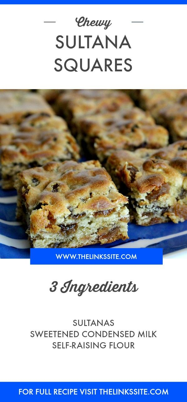Chewy Sultana Squares Recipe This Is A Super Easy 3 Ingredient Recipe Thelinkssite Com Easy Dessert Recipes Quick Square Recipes Milk Recipes
