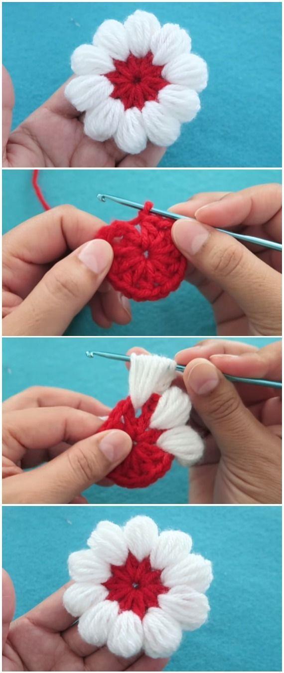 Crochet Beautiful Flower Puff Stitch | crochet stitch patterns ...