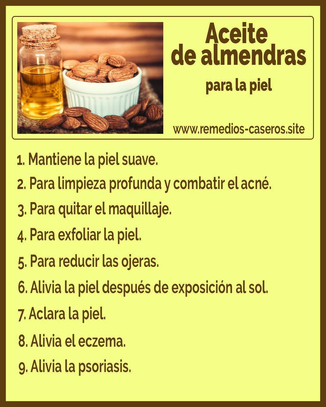Aceite De Almendras Para La Piel Aceitedealmendras Piel Remedios Naturales Para Dolor De Cabeza Aceite De Almendras Consejos Para La Salud
