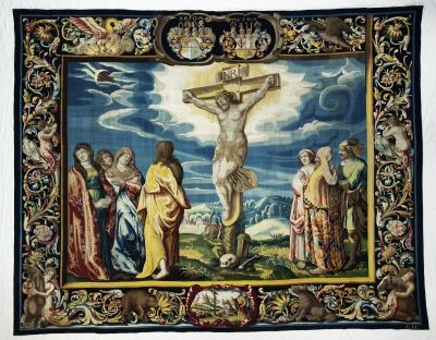 Crucifixion, in a series of eight scenes from biblical history by manufacture Tobias Schaep, 1634-1647. Skoklosters slott, CC-BY-SA