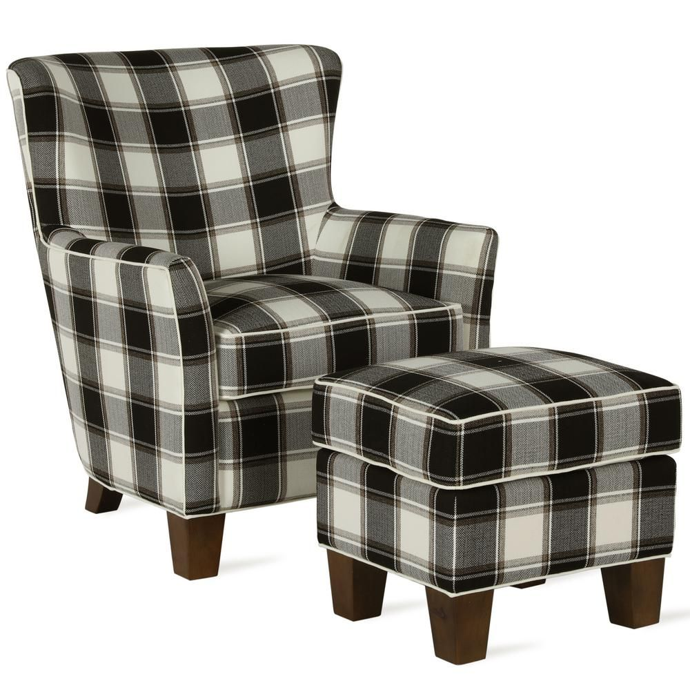 Best Dorel Living Pablo Black Plaid Accent Chair Ottoman Set 400 x 300