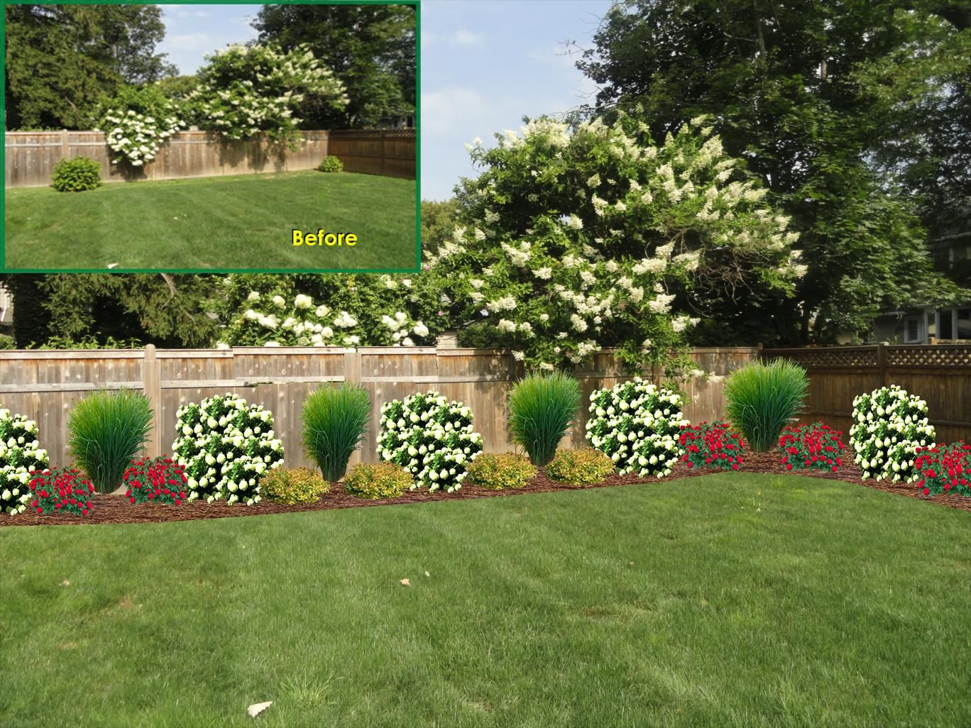 adding plants along a fence line gives it nice texture and on backyard fence landscaping id=32592
