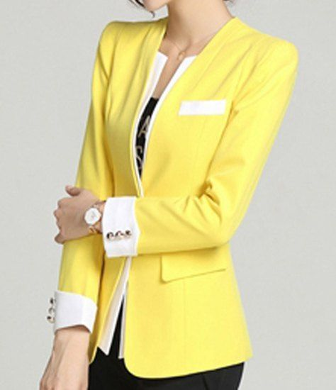 Color Block Collarless Buttons Faux Pocket Design Long Sleeve Ladylike Blazer For Women