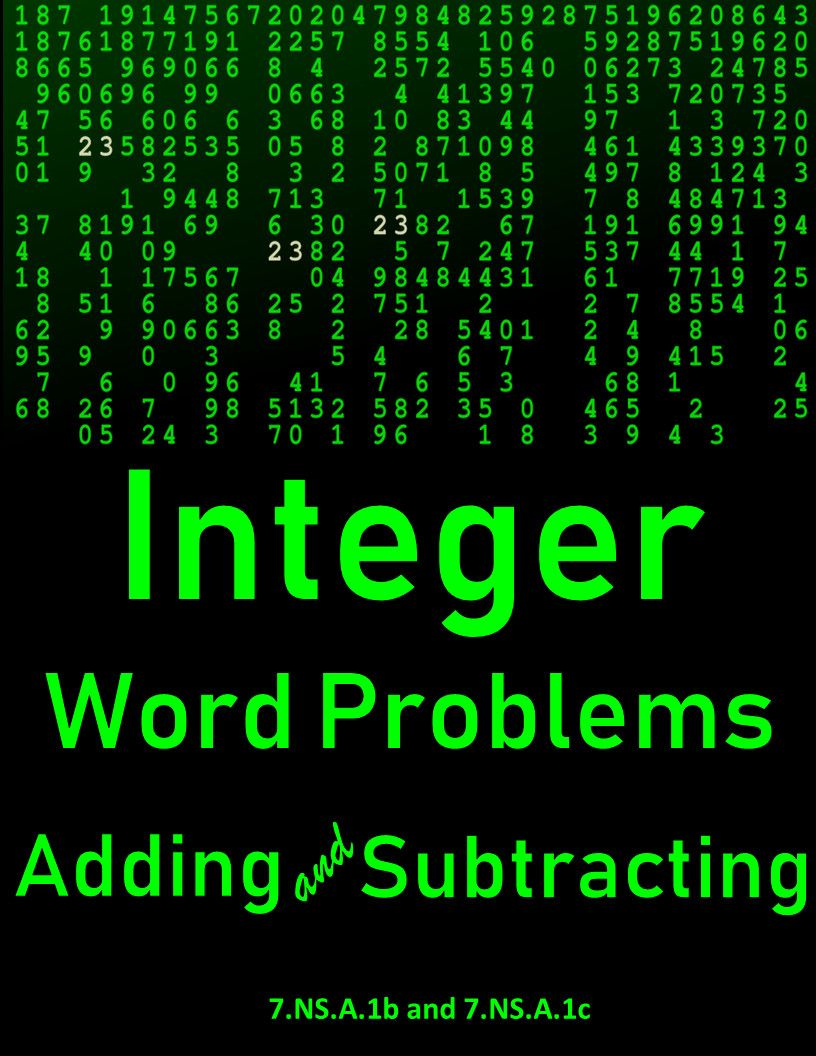 7 Adding And Subtracting Integers Worksheet 2 In 2020 Integers Word Problems Adding Integers Worksheet Word Problems