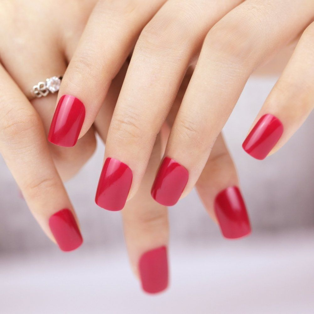 Bling Art False Nails French Manicure Red Fire me Up Full Cover Medium Tips UK -- Details can be found by clicking on the image.