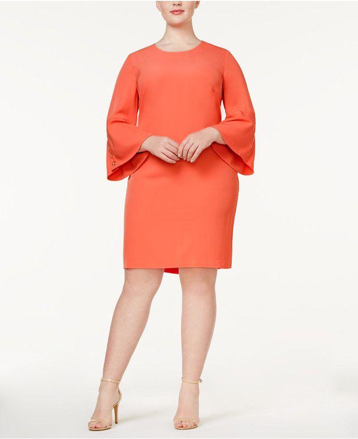 32b7d91ce2 Calvin Klein Plus Size Bell-Sleeve Sheath Dress
