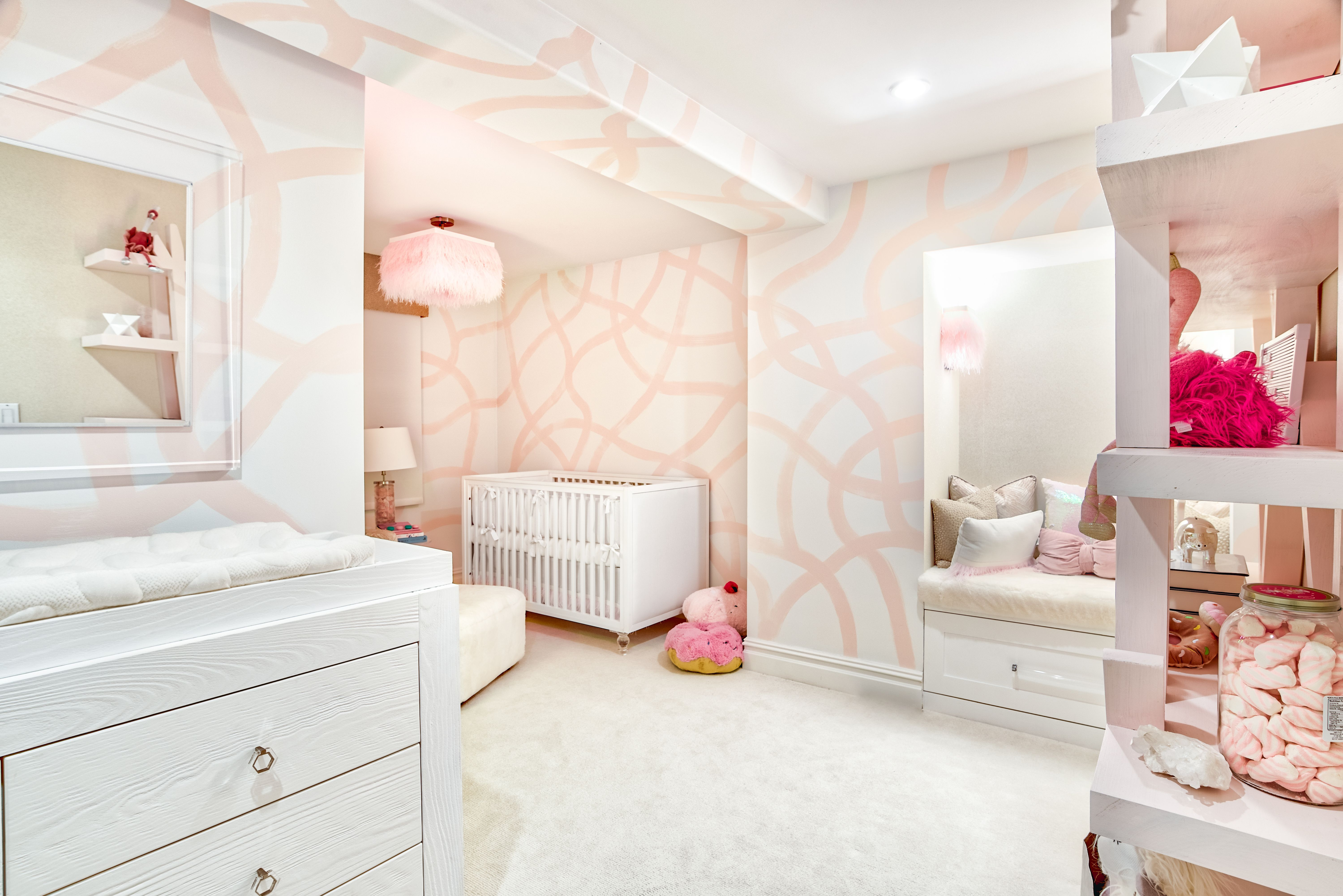 Sweet And Glam Modern Blush Pink Nursery Featuring Abstract