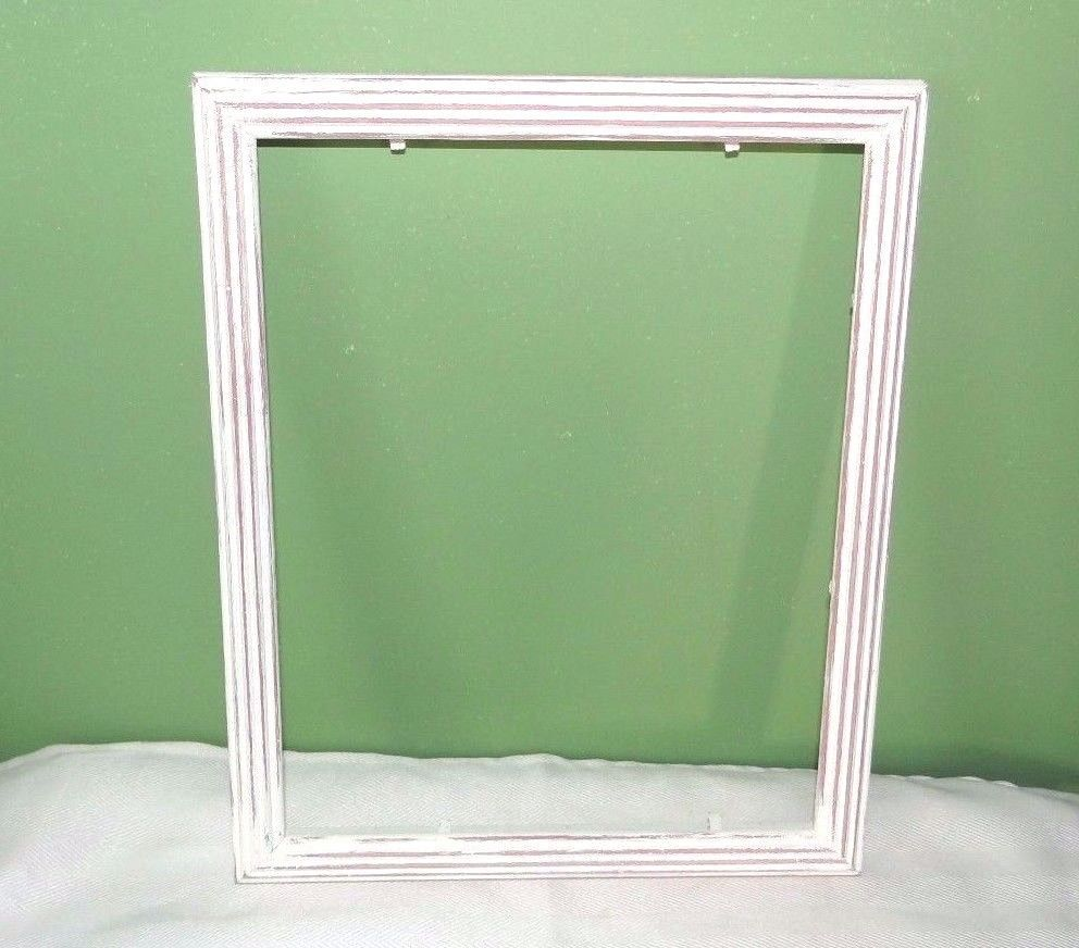 Distressed white picture frame, 8 x 10, no cardboard or glass ...