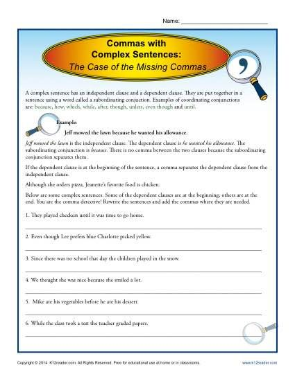 Commas With Complex Sentences Comma Worksheets Complex Sentences Complex Sentences Worksheets Comma Worksheets