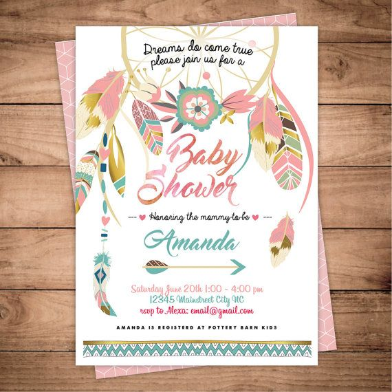 dreamcatcher boho baby shower invitation digital printable files
