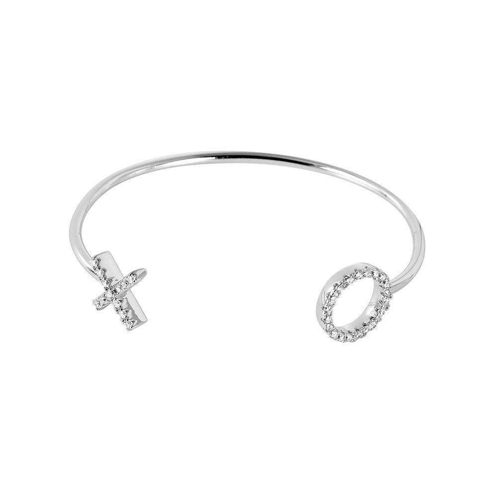 Sterling Silver Cubic Zirconia XO Design Adjustable Bracelet