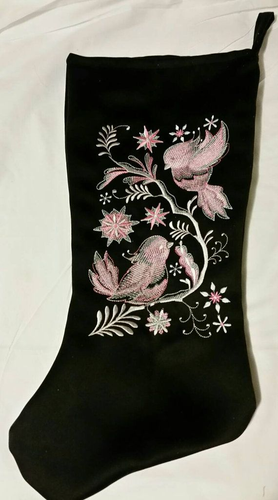 Christmas stocking birds sitting on a branch by cmembroideryshack