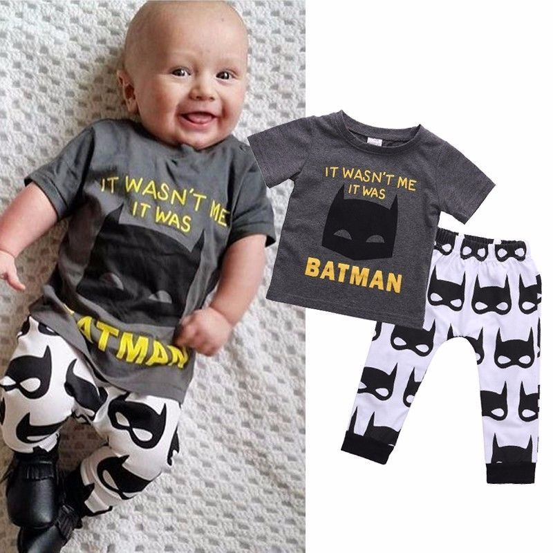 80bb9e2bf1e6 2pcs Newborn Infant Toddler Kids Baby Boy Clothes T-shirt Tops+Pants ...
