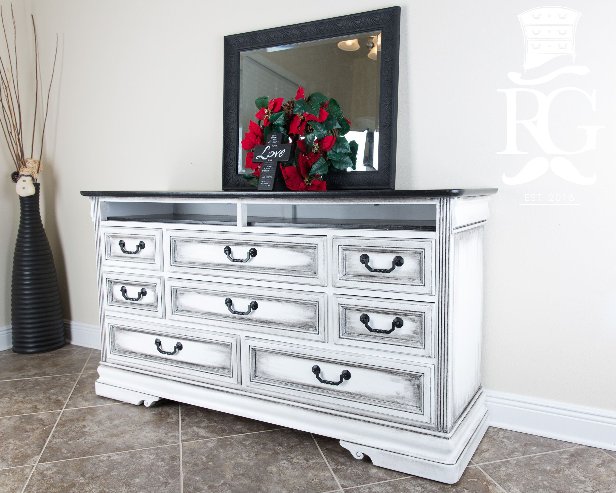 Dresser Upcycle Painted in Annie Sloan Chalk Paint Pure White  Clear Wax   then Black. Dresser Upcycle Painted in Annie Sloan Chalk Paint Pure White