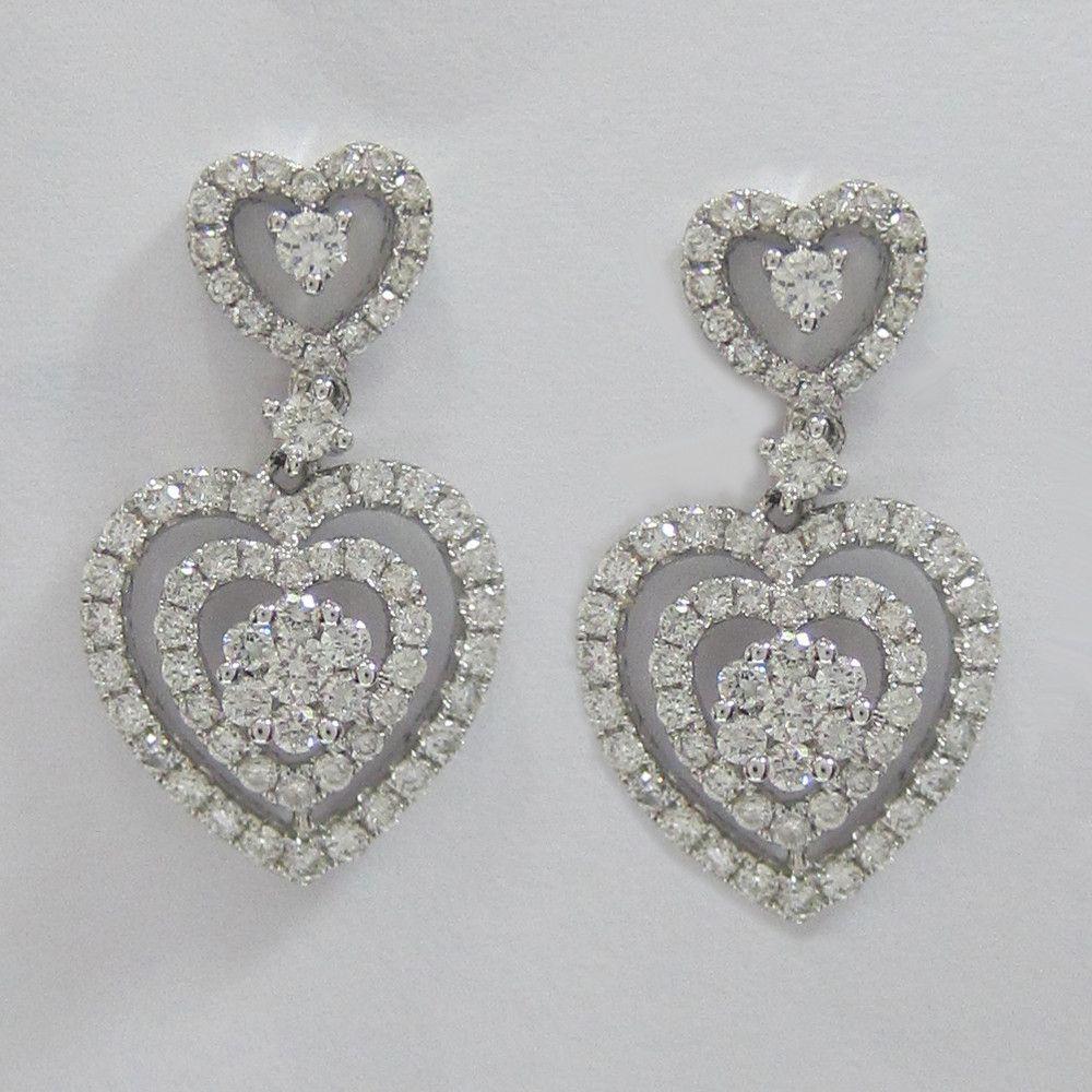 112ct F Si1 18k White Gold Heart Shaped Diamond Earrings Idj015303
