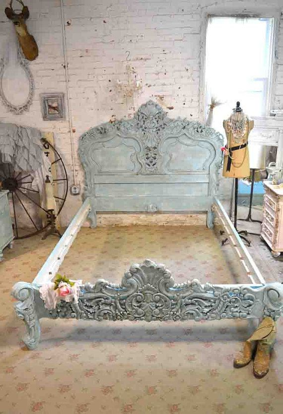 French Bed Painted Cottage Shabby Chic Rococo Bed Aqua Queen / King ...