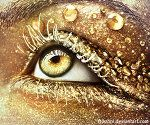 Glam eye; Gold by ftourini at Deviant Art - she did the makeup, took the photo and photoshopped - 90% makeup, 10% photoshop effets... I think she mearly golded the eye up a bit and whitened the eyewhites... It's amazing... Go see her other eye photos :-D