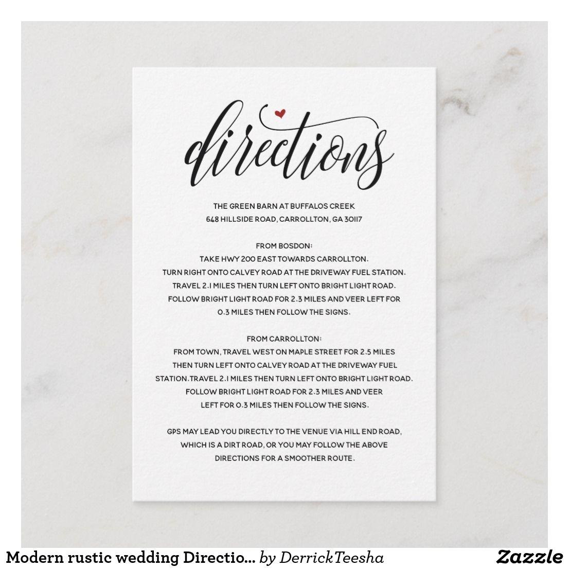 Modern Rustic Wedding Direction Enclosure Card V1 Modern Rustic Wedding Invitation Rustic Modern Wedding Wedding Directions
