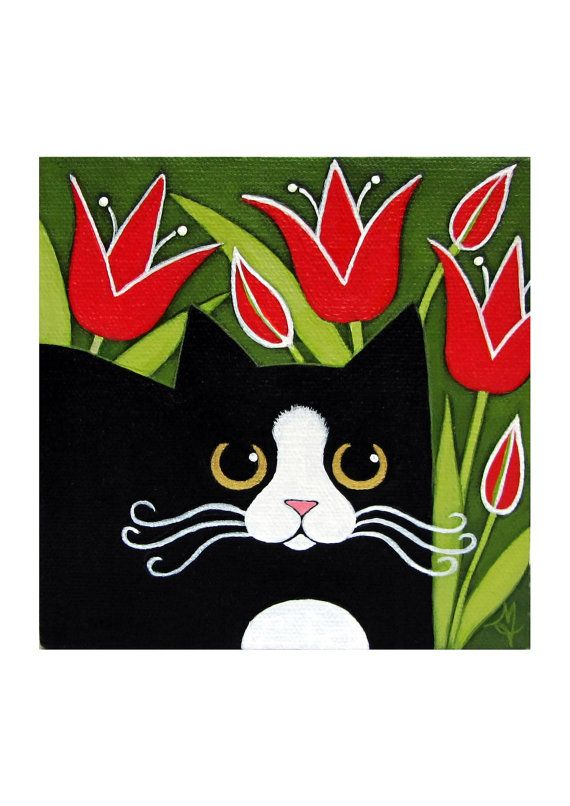Black and White Tuxedo CAT With Red TULIPS Original Acrylic Folk ART Canvas Flower Painting