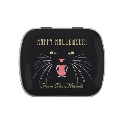 #Halloween Black Cat Hissing Fun Elegant Candy Tin - #Halloween #happyhalloween #festival #party #holiday