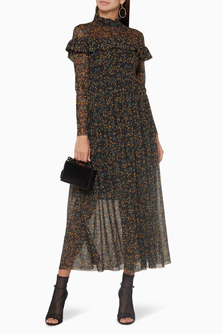 ec887476 Shop Luxury Ganni Black Tilden Mesh Maxi Dress | Ounass UAE | WISH ...
